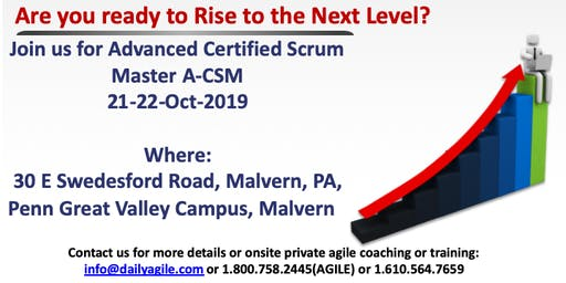 Advanced Certified Scrum Master (A-CSM) in Malvern/Philadelphia, PA