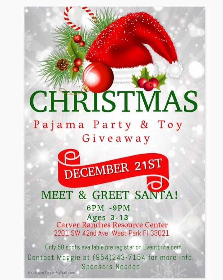 Christmas Giveaway Flyer.The Night Before Christmas Pajama Party Toy Giveaway