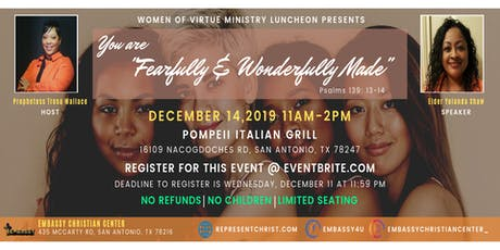 "Women of Virtue Ministry Luncheon: You Are ""Fearfully and Wonderfully Made"" tickets"
