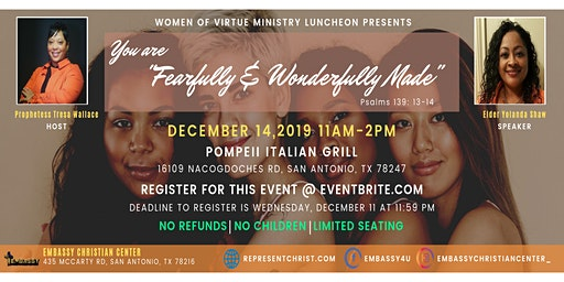 """Women of Virtue Ministry Luncheon: You Are """"Fearfully and Wonderfully Made"""""""