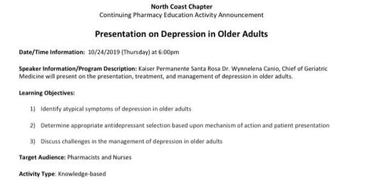CE on Depression in Older Adults