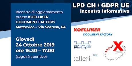LPD CH / GDPR UE - Incontro Informativo biglietti