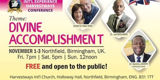 Int'l Experience Harvestways Conference | Birmingham | ENGLAND | November 1-3, 2019.