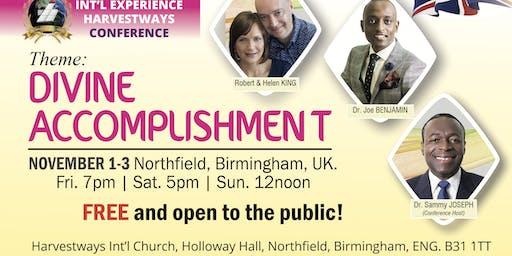Int'l Experience Harvestways Conference | Birmingham | ENGLAND | November 1-3, 2019.