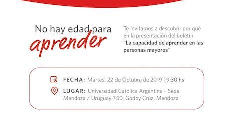 """Presentación Boletín N° 1 2019 """"La capacidad de aprender en las personas mayores""""  entradas"""