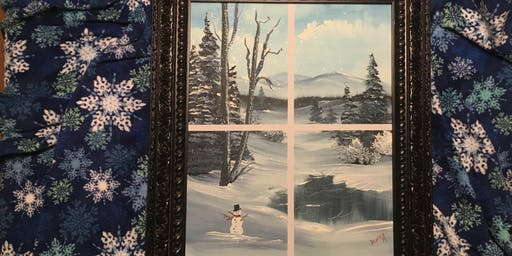 Bob Ross Painting Class. Winter Wonderland