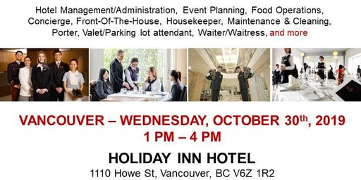 Vancouver Hospitality Job Fair - October 30th, 2019