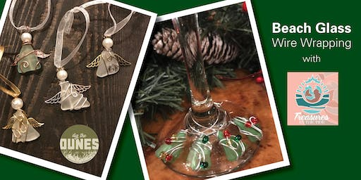 Make your own beach glass ornament and wine charms!