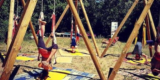 Yoga aérien sous les arbres