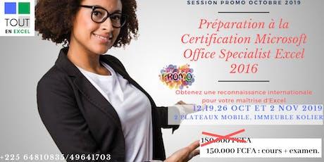 Préparation à la certification Microsoft Office Excel 2016 tickets