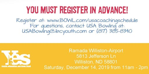 FREE USA Bowling Coach Certification Seminar - Ramada Williston-Airport, Williston, ND