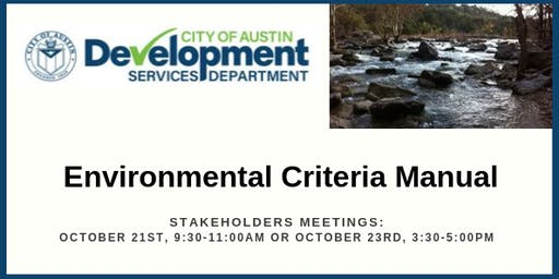 Stakeholder Meeting for the City of Austin's Environmental Criteria Manual
