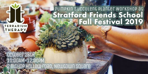 Pumpkin Succulent Planter Workshop at Stratford Friends School Fall Fest.