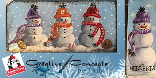 Snowmen Slate Paint Night