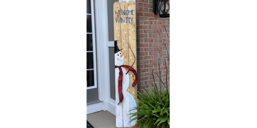 Snowman Tall Picket Fence Welcome Sign - Creative Paint & Sip Maker Class