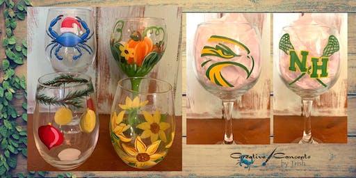 Fall and Winter Wine Glass Paint Night