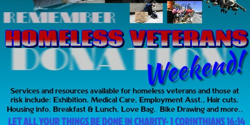 Remember Homeless Veterans Donation Weekend!