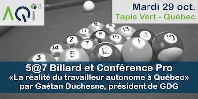 NOUVELLE DATE - 5@7 Billard et Conférence PRO - Québec