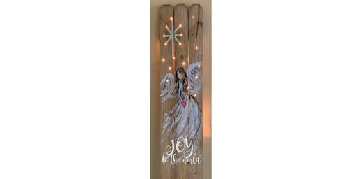 Angel with Lights Fence Sip & Paint Party Art Maker Create Class