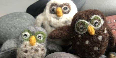Needle felting: Owls tickets