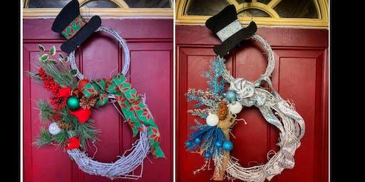 Grapevine Snowman Wreath Making Class and Buffet Dinner- Medford Pop Shop