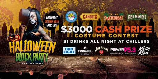 Church Street Halloween Block Party | $3,000 Cash Prize | $1 Drinks