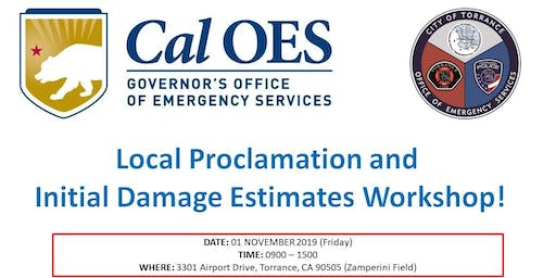 CalOES PROCLAMATION & INITIAL DAMAGE ESTIMATES  FOR CDAA FUNDING TRAINING