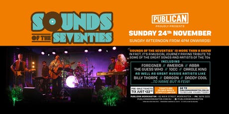 Sounds of the Seventies LIVE at Publican, Mornington! tickets