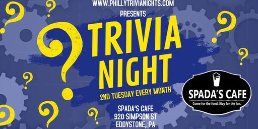 2nd Tuesday Trivia Night at Spada's Cafe (Delaware County, PA)