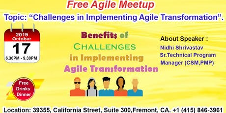 Free Agile Meetup in Fremont-Oct 17th,2019 tickets