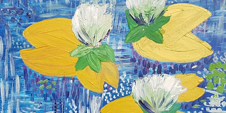 Paint'n'Pints™ Golden Lilies with Gesso Flowers Painting Class with Beer in Milton tickets