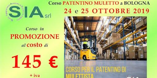Corso PATENTINO MULETTISTA a BOLOGNA il 24 e 25 OTTOBRE 2019.