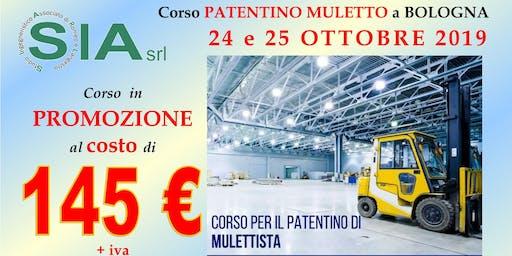 Corso PATENTINO MULETTO BOLOGNA il 24 e 25 OTTOBRE 2019.