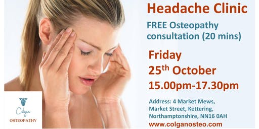 Headache Clinic - Free Osteopathy Consultation, Kettering Northamptonshire