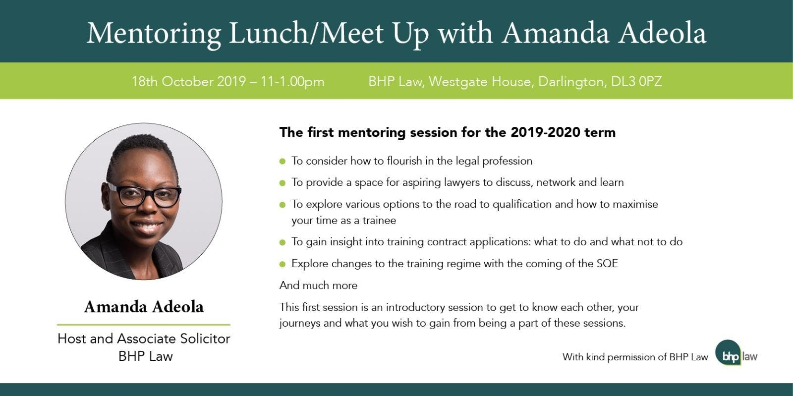 Mentoring Lunch/Meet Up with Amanda Adeola