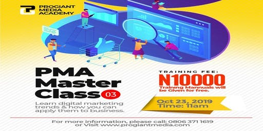 PMA  DIGITAL MARKETING MASTER CLASS. This is a Paid event