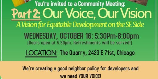 South Shore Our Voice, Our Vision: Part 2- A Vision for Equitable Development on the SE Side