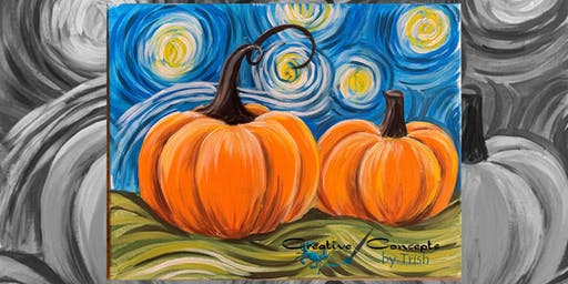 Van Gogh Pumpkin Canvas or Slate Paint Night