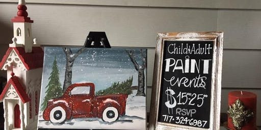 York Holiday Truck Paint Event 16x20 canvas