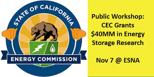 CEC Workshop: EPIC Grants for Energy Storage Technologies