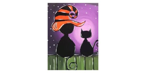 "Parent/Child Class - ""Spooky Cats"" on Canvas"