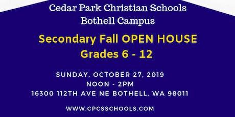 Cedar Park Christian School - Fall Secondary OPEN HOUSE (Grades 6 - 12) tickets