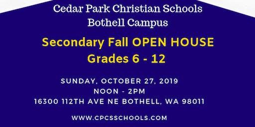 Cedar Park Christian School - Fall Secondary OPEN HOUSE (Grades 6 - 12)