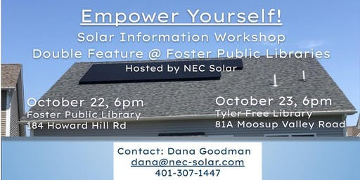 Empower Yourself! Solar Info Workshop at Foster Public Library