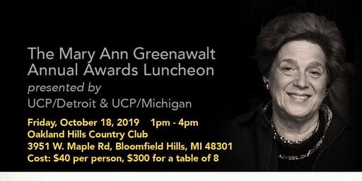 The Mary Ann Greenawalt Annual Awards Luncheon presented by UCP Detroit & MI