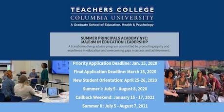 Summer Principals Academy Information Social tickets