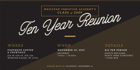 WCA Class of 2009: 10 Year Reunion tickets