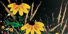 "Textured Acrylic Black-Eyed Susans - 12x24"" Black Canvas - Painting Class - Spencer"