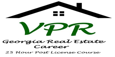 "2019 - 2020 ""Georgia Real Estate Career"" - 25 Hour Post License - 8 Live Classes  Tuesday Evening & Saturday AM Duluth"