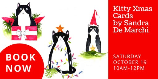 Create your own Kitty Xmas cards with watercolour paints